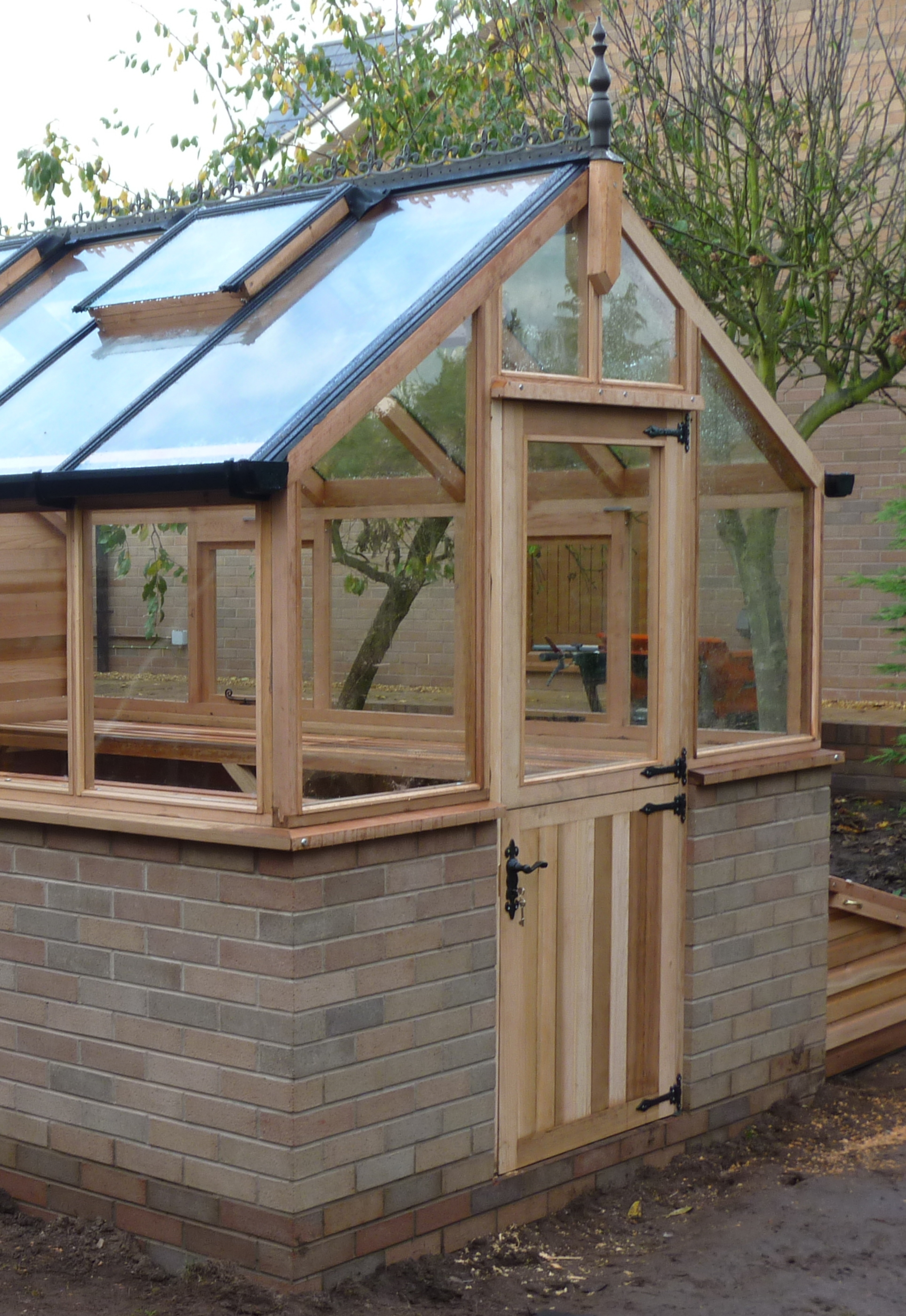 Stable Door fitted in a western red cedar greenhouse